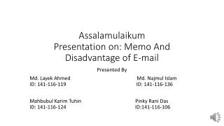 Memorandum And Disadvantage of E-mail