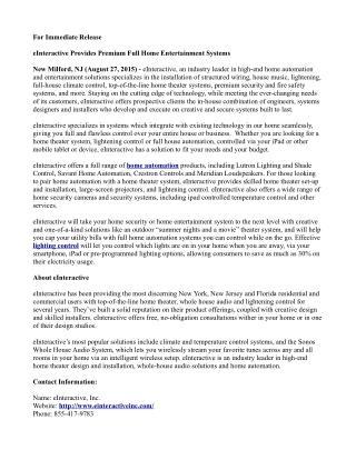 eInteractive Home automation Press Release