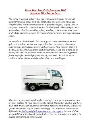 Boost Your Truck's Performance With Japanese Mini Trucks Parts