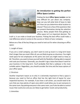 An introduction to getting the perfect Office Space London