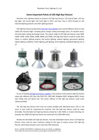 Some Important Points of LED High Bay Fixtures