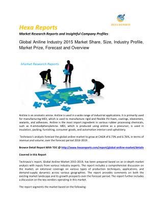 Aniline Industry 2015 Market Size, Share, trends and Forecast  2015 – 2019