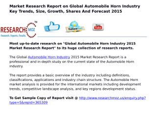 Global Automobile Horn Industry 2015 Market Research Report
