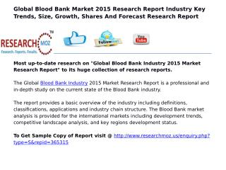 Global Blood Bank Industry 2015 Market Research Report