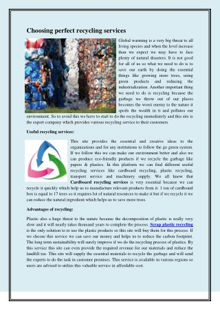 Choosing perfect recycling services