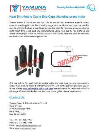Heat Shrinkable Cable End Caps Manufacturers India