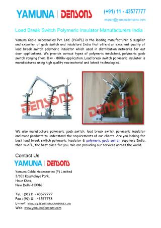 Load Break Switch Polymeric Insulator Manufacturers India