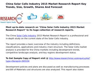 China Solar Cells Industry 2015 Market Research Report