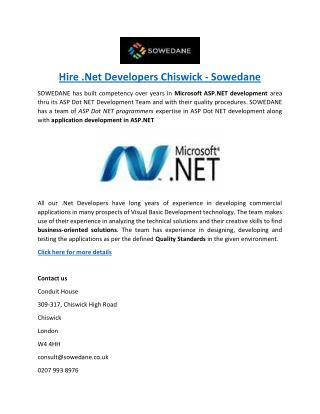 Hire .Net Developers Chiswick - Sowedane