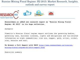Russias Mining Fiscal Regime: H2 2015