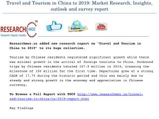Travel and Tourism in China to 2019