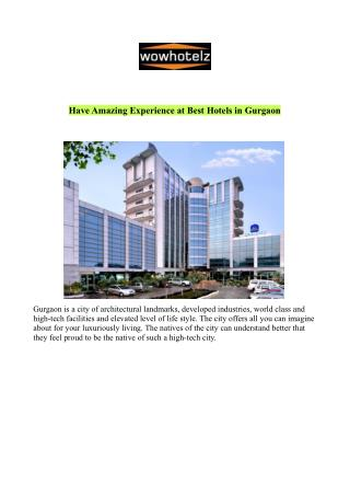 Best Hotels in Gurgaon