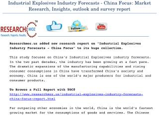 Industrial Explosives Industry Forecasts - China Focus: Market Research, Insights, outlook and survey report