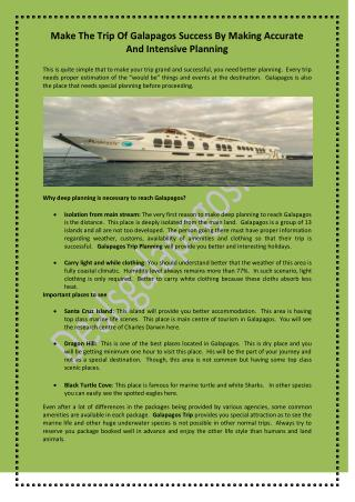 Make The Trip Of Galapagos Success By Making Accurate And Intensive Planning