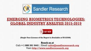 Global Emerging Biometrics Technologies Market Grows at 13% CAGR to 2019