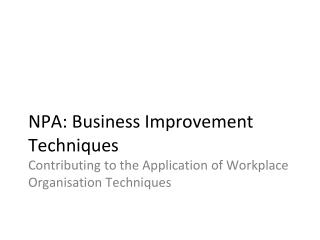 NPA: Business Improvement Techniques Contributing to the Application of Workplace Organisation Techniques