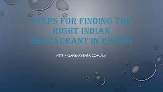 Steps For Finding The Right Indian Restaurant In Epping