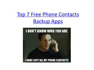 Top 7 Free Phone Contacts Backup Apps