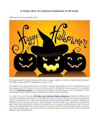 A guide: how to celebrate halloween in rv parks