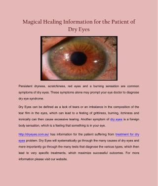 Magical Healing Information for the Patient of Dry Eyes
