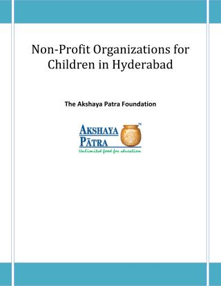 Non-Profit Organizations for Children in Hyderabad