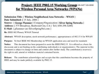 Submission Title: [ Wireless Neighborhood Area Networks   WNAN ]  Date Submitted: [ 15 July, 2008 ]  Source:  [ George F
