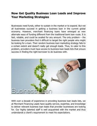 Now Get Quality Business Loan Leads and Improve Your Marketing Strategies