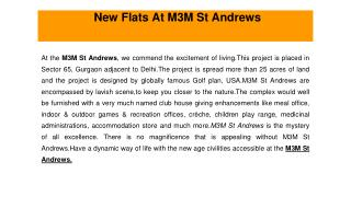 New Flats Available At M3M St Andrews