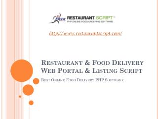 Restaurant & Food Delivery Web Portal & Listing Script