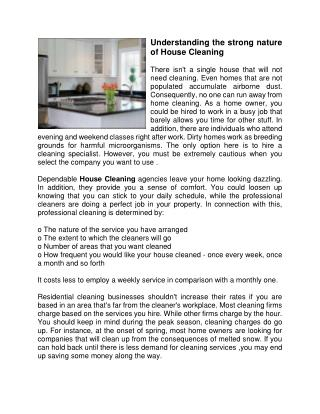 Understanding the strong nature of House Cleaning