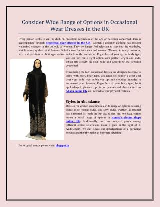 Consider Wide Range of Options in Occasional Wear Dresses in the UK