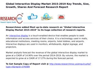 Global Interactive Display Market 2015-2019 | Latest Research Report