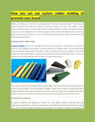How you can use custom rubber molding to promote your brand