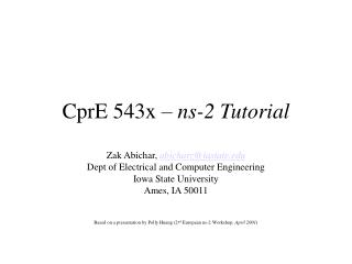 CprE 543x   ns-2 Tutorial