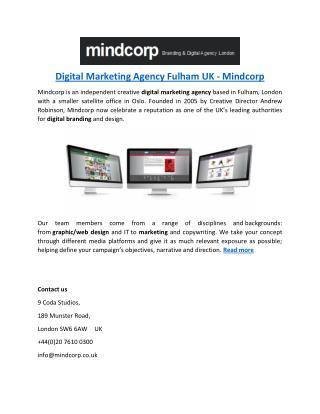 Digital Marketing Agency Fulham UK - Mindcorp