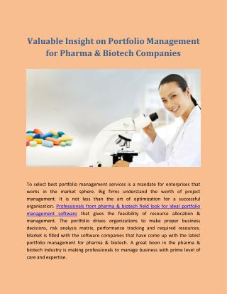 Valuable Insight on Portfolio Management for Pharma & Biotech Companies