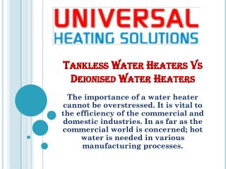 Tankless Water Heaters Vs Deionised Water Heaters