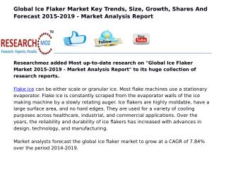 Global Ice Flaker Market 2015-2019 - Market Analysis Report
