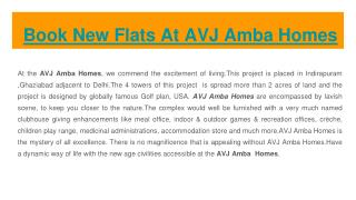 New Flats Available At AVJ Amba Homes