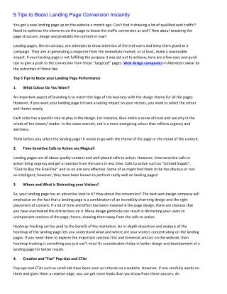 5 Tips to Boost Landing Page Conversion Instantly