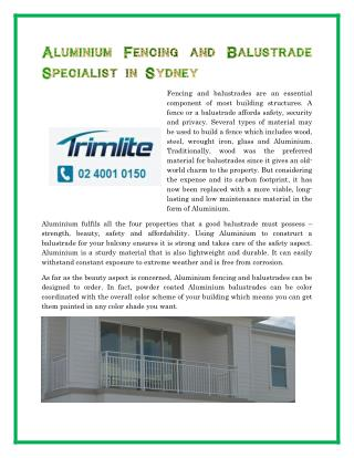 Aluminum Fencing and Balustrade Specialist in Sydney