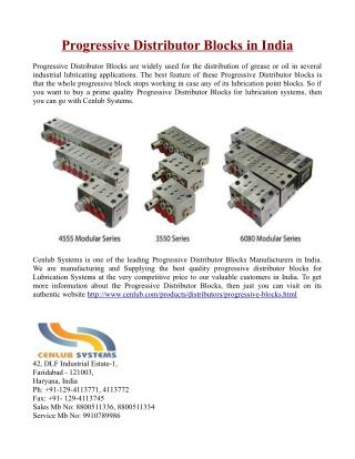 Progressive Distributor Blocks in India