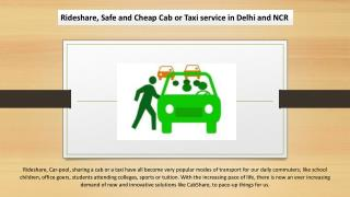 Rideshare, Safe and Cheap Cab or Taxi service in Delhi and NCR