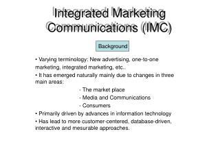 Integrated Marketing Communications IMC