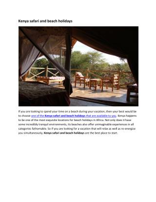Kenya safari and beach holidays