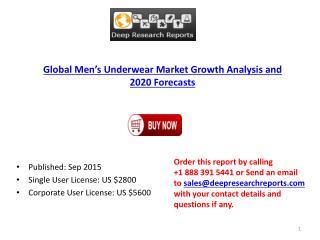 Men's Underwear Industry Statistics and Opportunities Report 2015