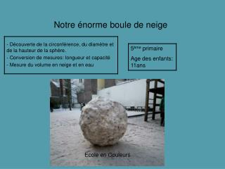 Notre  norme boule de neige