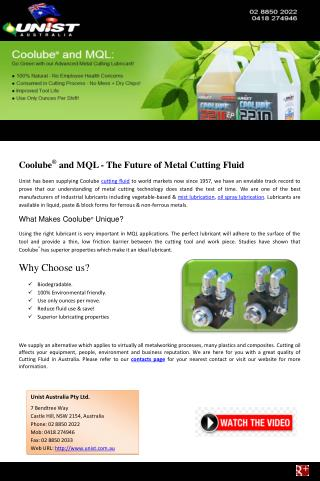 Coolube� and MQL - The Future of Metal Cutting Fluid