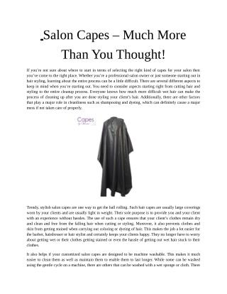 Salon Capes Much More Than You Thought
