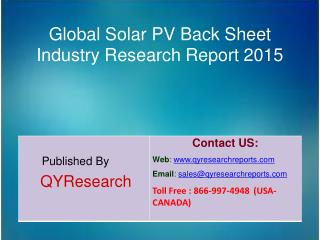 Global Solar PV Back Sheet Market 2015 Industry Development, Research, Analysis, Forecasts, Growth, Insights, Study, Ove